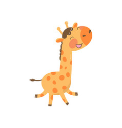 Joyful baby giraffe in playing action cartoon vector