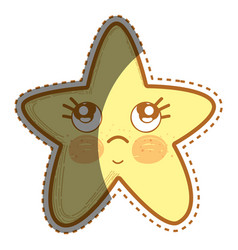 Kawaii thinking star with cute eyes vector