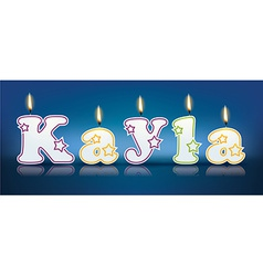 KAYLA written with burning candles vector