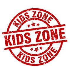 Kids zone round red grunge stamp vector