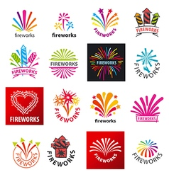Large set of logos fireworks vector