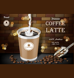 Latte coffee cup with milk splash and beans ads vector