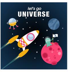 lets go universe rocket alien planet background v vector image