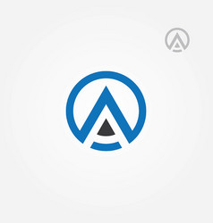 letter a rounded abstract logo symbol vector image