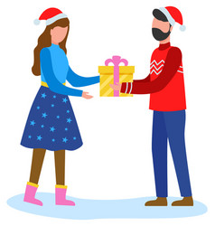 Man greeting woman with winter and gives gift vector