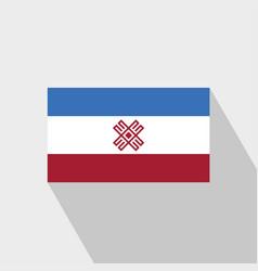 Mari-el flag long shadow design vector