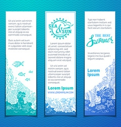 Marine life vertical banners set vector image