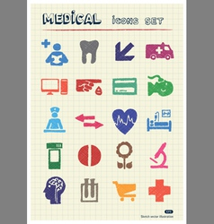 Medical and human web icons set vector image