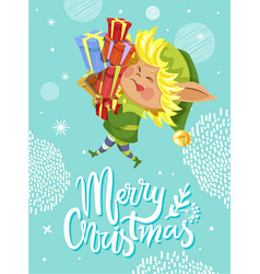 merry christmas greeting card with elf and gifts vector image
