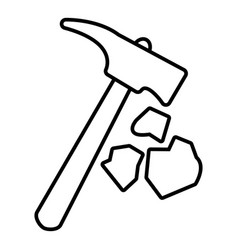 Minning hand hammer icon outline style vector
