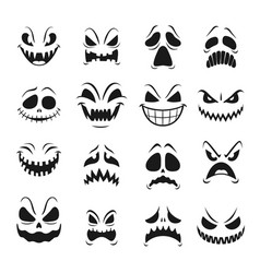 monster faces set halloween emoticons emojis vector image