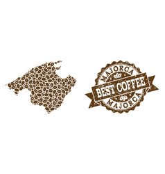 Mosaic map of majorca with coffee beans and grunge vector