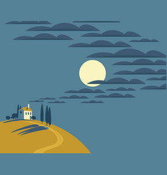night landscape with a village on a hill vector image