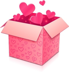 Ornate open box with rose paper hearts inside vector