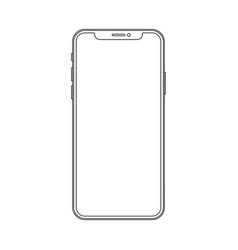 Outline line drawing modern smartphone elegant vector