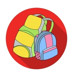 Pair of travel backpacks icon in flat style vector