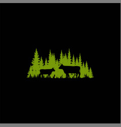 pine forest and cow silhouette vector image