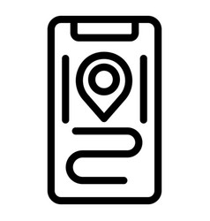 Pinned location icon outline style vector