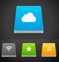 Portable Data Storage Hard Disc Drive Icons vector