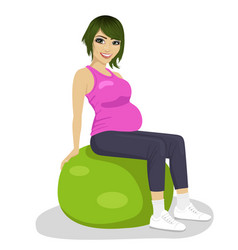 Pregnant women on exercise balls vector