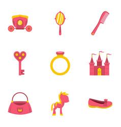 Princess things icon set flat style vector