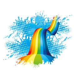 rainbow in a splash of water vector image