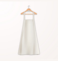 Realistic white blank cotton kitchen apron vector