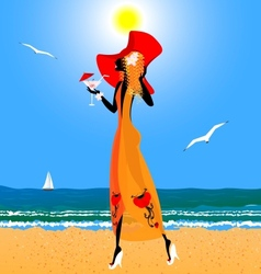 Red-haired girl on the beach vector