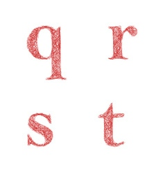 Red sketch font set - lowercase letters q r s t vector