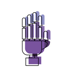 robot hand in watercolor silhouette vector image