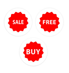 sale free buy set icon red circle frame background vector image