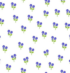 Seamless floral pattern with blueberries vector