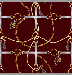 seamless pattern with belts chain and braid vector image
