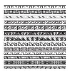 Set meanders ancient greek key borders vector