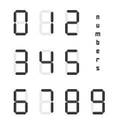 Set of black simple digital numbers vector