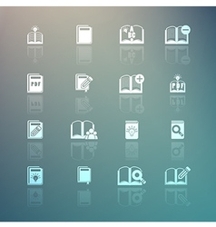 Set of books icons on Retina background vector image vector image