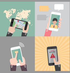 set of hand holding and gestures on smartphone vector image