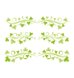 Set of horizontal borders with clover leaves vector