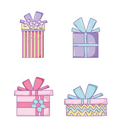 set presents gift with ribbon bow vector image