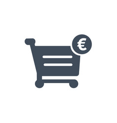 shopping cart and euro sign icon isolated on vector image