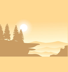 Silhouette of spruce on mountan background vector