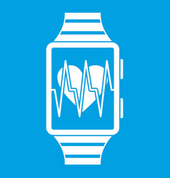 Smartwatch with sport app icon white vector