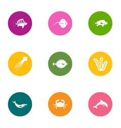 squama icons set flat style vector image