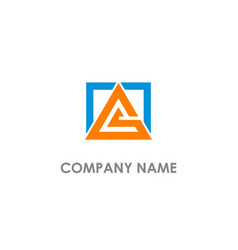 square triangle shape line colored logo vector image