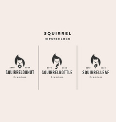 squirrel donuts bottle leaf logo icon hipster vector image