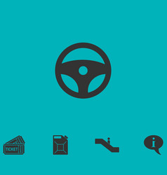Steering wheel icon flat vector