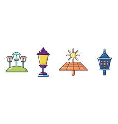 Street light icon set cartoon style vector
