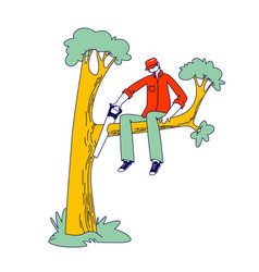 Stupid male character sawing off tree branch vector