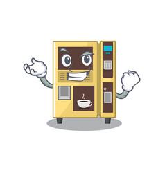 Successful coffee vending machine with cartoon vector