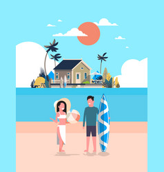 surfer couple summer vacation man woman surf board vector image